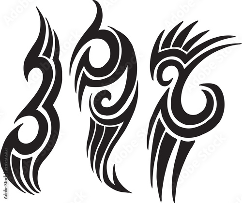 Poster Cartoon draw Tribal Tattoo Vector Design Set