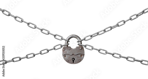 Photographie  The padlock and chains.