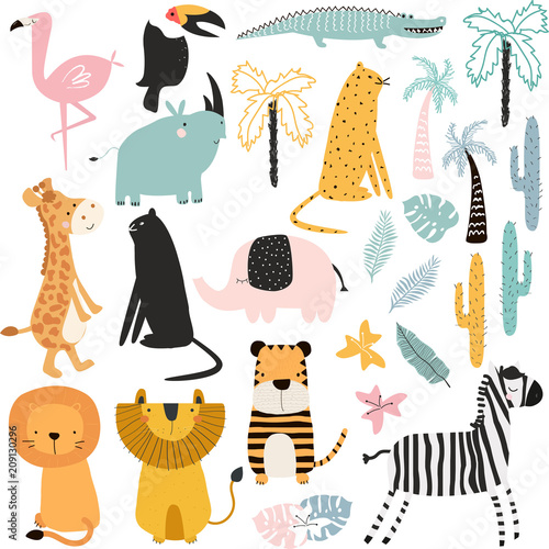 Set of cartoon African animals and plants Wallpaper Mural