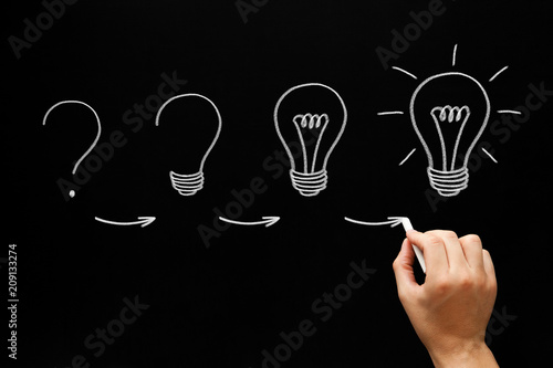 Fotografie, Obraz  Growing Idea Process Concept On Blackboard