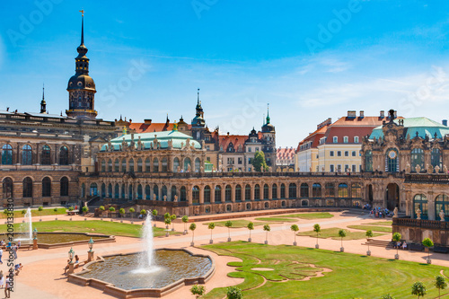 Foto op Plexiglas Buenos Aires Dresden, Germany. Zwinger Palace and gallery of masters. Beautiful statues. Historic Heritage. A city for tourism and tourists. View of the Elba River. Nearby the Opera House.