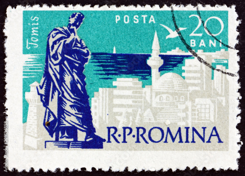 Fotobehang Historisch mon. Postage stamp Romania 1960 Ovid Statue at Constanta