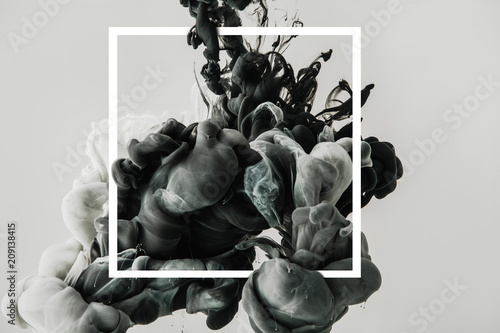 Fototapety, obrazy: design with flowing black and white ink in square frame, isolated on gray