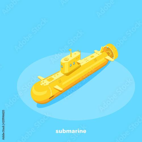 Láminas  yellow submarine on a blue background, isometric image