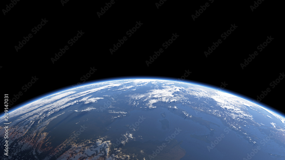 Fototapety, obrazy: Earth view from space or spacestation in low orbit with clouds and atmosphere, 3D Rendering
