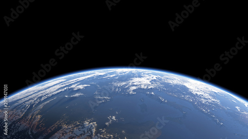 Obraz Earth view from space or spacestation in low orbit with clouds and atmosphere, 3D Rendering - fototapety do salonu