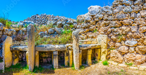 Wall Murals Place of worship Ggantija neolithic temple at Xaghra, Gozo, Malta