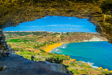 Aerial View Of Ir-Ramla Bay At Gozo Through Tal-Mixta Cave, Malta