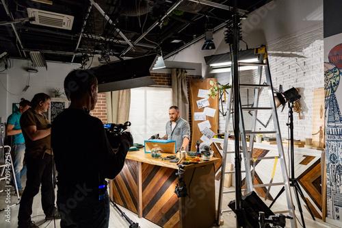 Fototapeta Behind the scenes of video production or video shooting