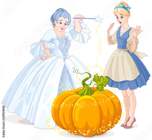 Tuinposter Sprookjeswereld Fairy Godmother & Cinderella