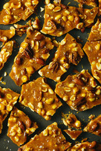 Close Up Of Salted Caramel Nut Brittle