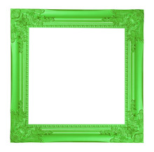 The Antique Green Frame  On White Background