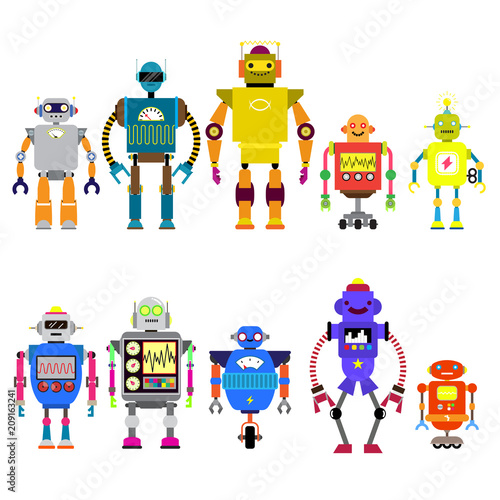 Deurstickers Robots Set Of different cartoon robots characters ,spaceman cyborg isolated on white background. Vector illustration