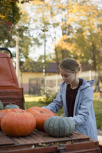 Content Girl Picking Pumpkins From Trunk