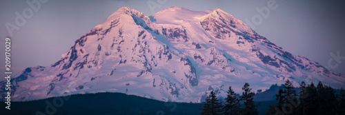 Photo Mt Rainier Sunset Panorama Blurry Vignette Zoom