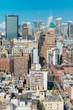 New York City skyline and busy street