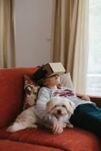 Girl Using VR Glasses