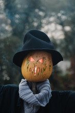 Scarecrow With Pumpkin For Hal...
