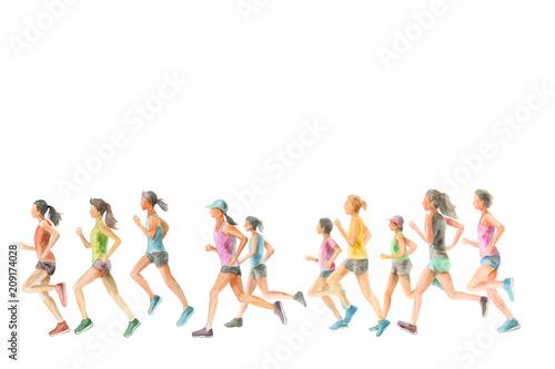 Deurstickers Jogging ランニングする女性たち
