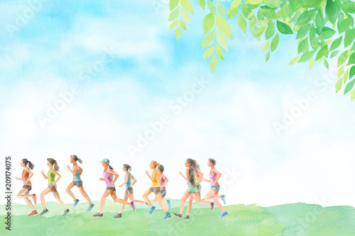 Staande foto Jogging ランニングする女性たち