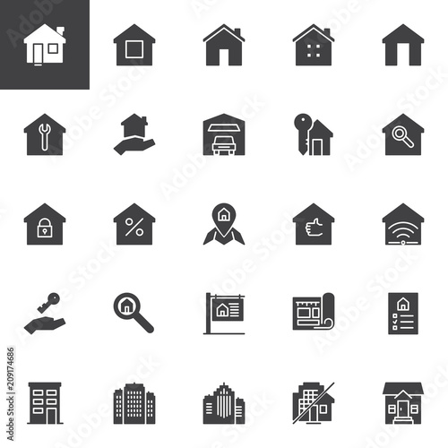 Fotografía  Real estate vector icons set, modern solid symbol collection, filled style pictogram pack