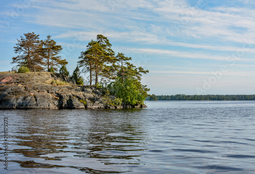 Tuinposter Eiland Islands in the North of the Leningrad region on lake Vuoksa. Sunny morning on the water.