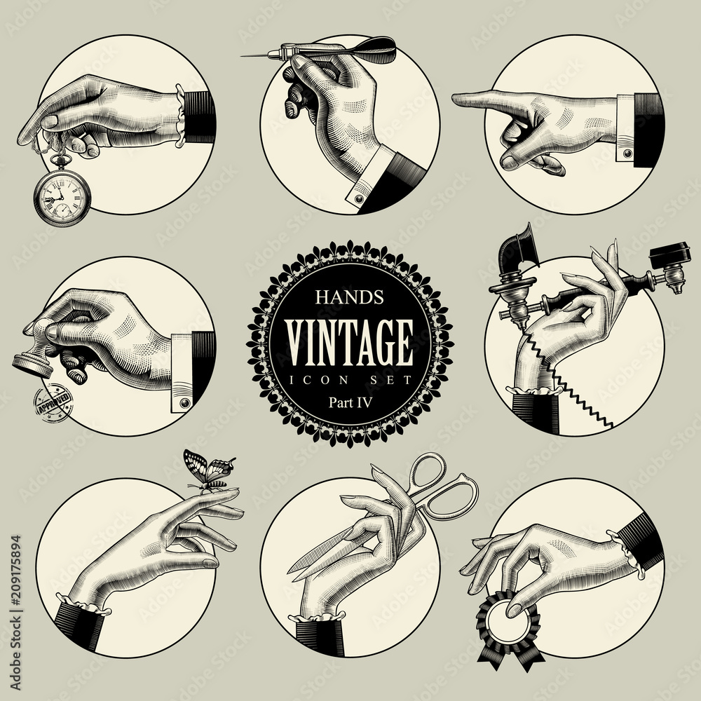 Fototapeta Set of round icons in vintage engraving style with hands and accessories