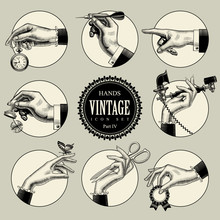 Set Of Round Icons In Vintage ...