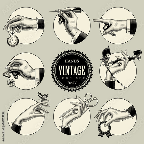 Set of round icons in vintage engraving style with hands and accessories - fototapety na wymiar