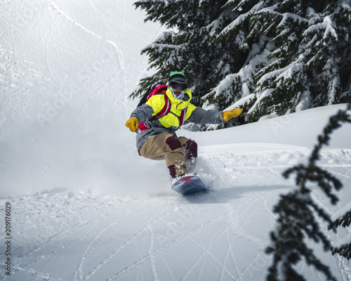 Snowboarder Riding Backcountry Powder Fast Profile Canvas Print