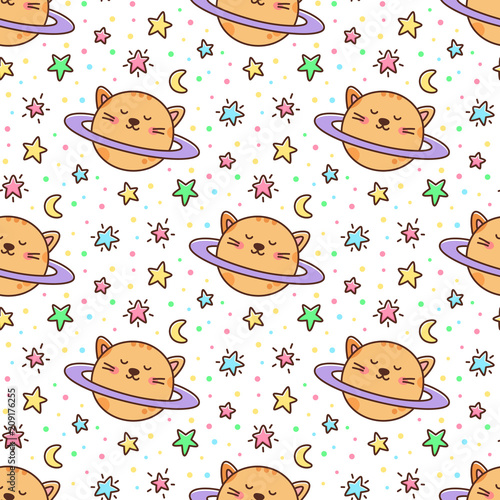 Seamless pattern with cat planet and stars, moon on a white background. It can be used for packaging, wrapping paper, textile and etc. Excellent print for children's clothes, bed linens, etc.