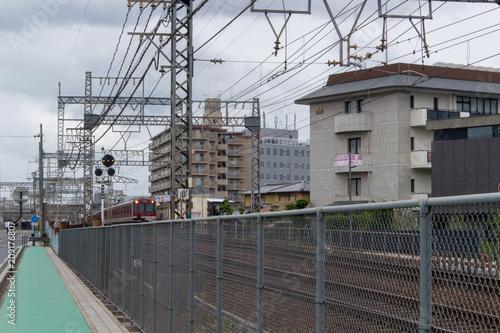 Spoed Foto op Canvas Stadion A train running in Japan. Kintetsu train