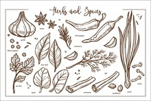 Fresh Fragrant Natural Herbs And Spices Monochrome Collection