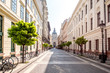 Street view with famous saint Stephen cathedral in Budapest city, Hungary