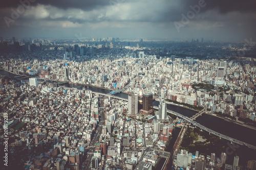 Foto op Canvas Asia land Tokyo city skyline aerial view, Japan