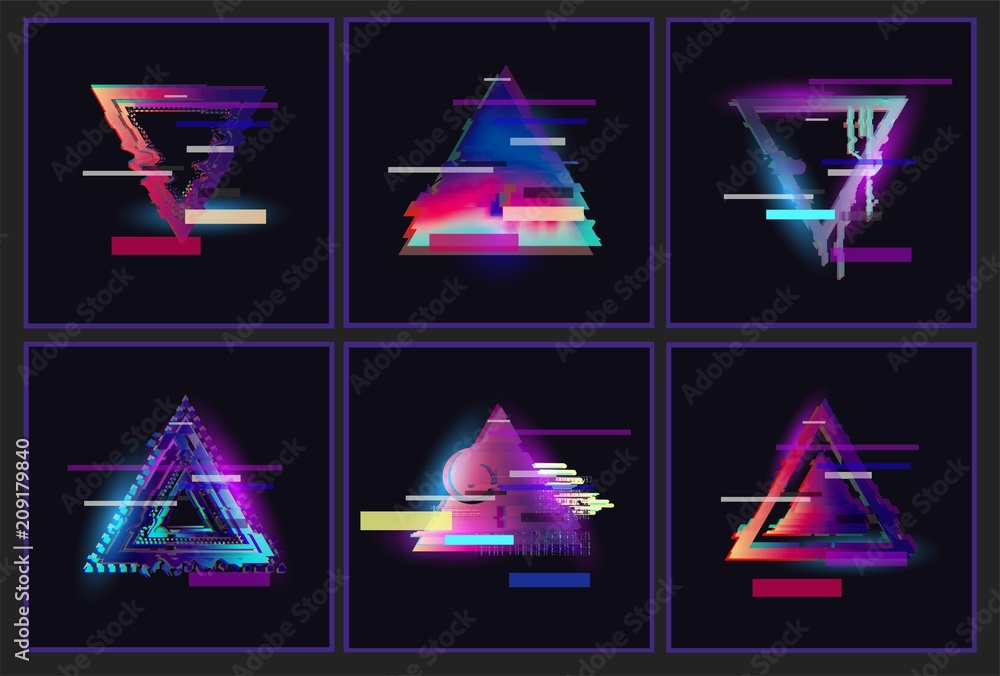 Fototapety, obrazy: Glitched Triangle Frame Design set. Distorted Glitch Style Modern Background. Glow Design for Graphic Design - Banner, Poster, Flyer, Brochure, Card. Vector Illustration.