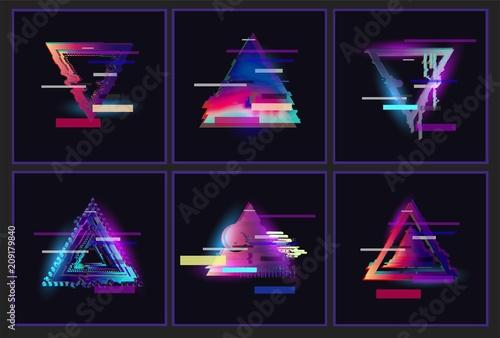 Cuadros en Lienzo Glitched Triangle Frame Design set