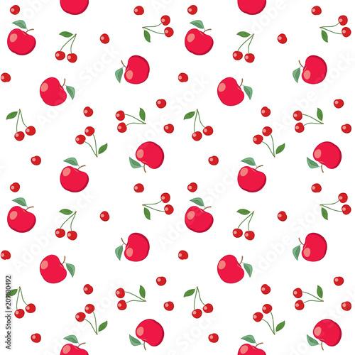 czerwone jabłka i wiśnie na białym tle - bezszwowe wektor wzór