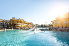 Szechenyi Outdoor Thermal Baths During The Morning Light Without People In Budapest, Hungary