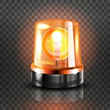 Yellow Flasher Siren Vector. Realistic Object. Light Effect. Beacon For Police Cars Ambulance, Fire Trucks. Emergency Flashing Siren. Transparent Background vector Illustration.