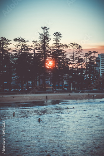 Fotobehang Oceanië Manly Beach at sunset, Sydney, Australia