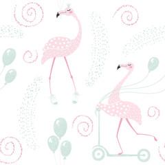Flamingo birthday seamless pattern