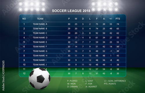 Photographie Soccer table with background of sport stadium. Vector.