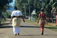 Traditionally Dressed Tongan Women Going To Church On Sunday At Neiafu, Vavau, Tonga