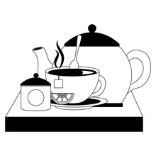 Teapot With Teacup And Slice Lemon Spoon On Wooden Tray Vector Illustration