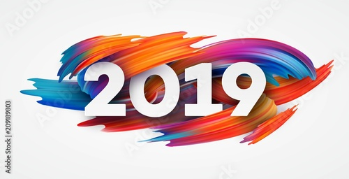 Fotografía  2019 New Year on the background of a colorful brushstroke oil or acrylic paint design element