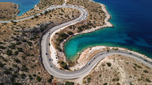 Aerial Drone Bird's Eye View Photo Of Tunnel In Athens Riviera Seaside Road Known As Hole Of Karamanlis, Attica, Greece