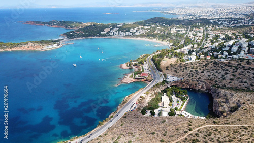 Aerial drone, bird's eye photo from iconic lake Vouliagmeni famous for healing a Canvas Print