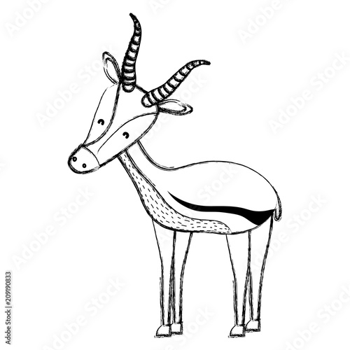 grunge cute male deer wild animal Poster