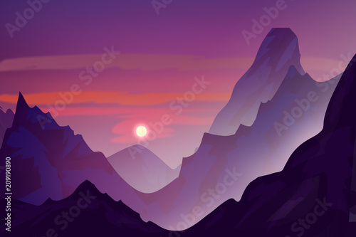 Tuinposter Aubergine Snowy mountains in the evening. Sunset. Digital drawing.